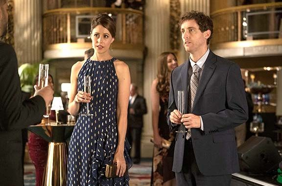 Richard (Thomas Middleditch) and Monica (Amanda Crew) go to a charity gala to try hunt VC money. HBO photo.