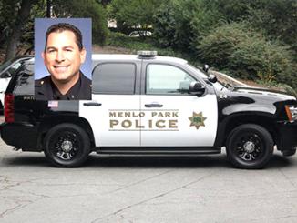 Menlo Park Police Chief Dave Bertini, inset, and a Menlo Park Police SUV.