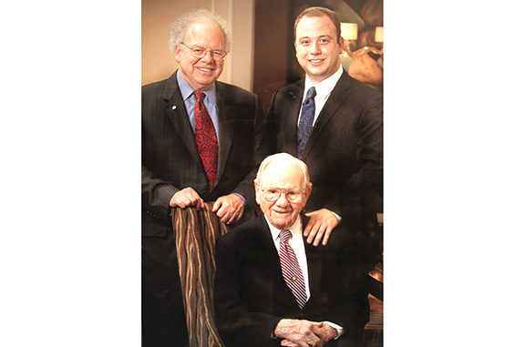 Clockwise from top left are Mark Flegel, Brian Flegel and Arthur Flegel, who died last year at age 100.