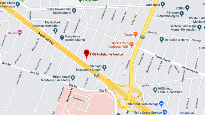 The dog was shot at 1102 Hollyburne Drive in east Menlo Park. Google map.
