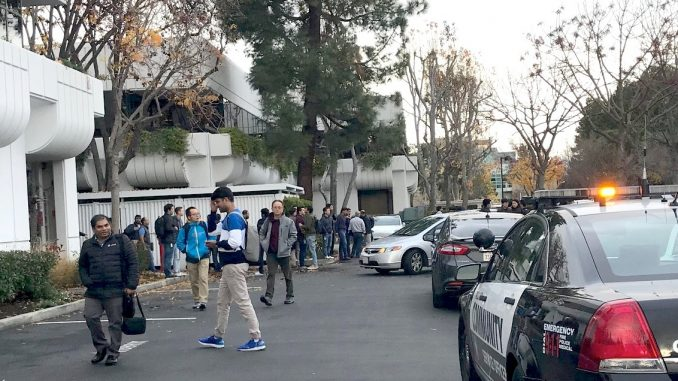 Workers were evacuated from the office of Rubrik after the stabbing this afternoon. Post photo by Sara Tabin.