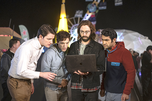 From left, Jared (Zach Woods), Richard (Thomas Middleditch), Gilfoyle (Martin Starr) and Dinesh (Kumail Nanjiani) at RussFest in Nevada. HBO photo.