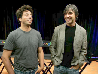 Google co-founders Sergey Brin, left, and Larry Page talk to reporters at a 2008 news conference at Google headquarters in Mountain View. AP photo by Paul Sakuma.