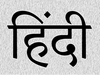 "The word ""Hindi"" in Devanagari script."