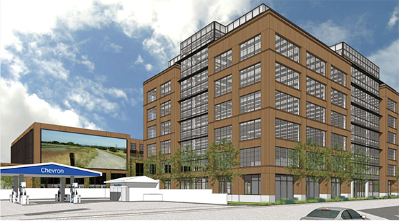 This is an illustration of an earlier version of the building the Sobrato Organization hopes to build at Donohue Street and University Avenue in East Palo Alto.