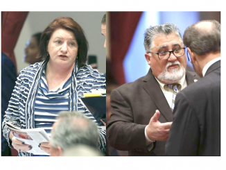 Senate Leader Toni Atkins and Senate Appropriations Chairman Anthony Portantino. AP photos.